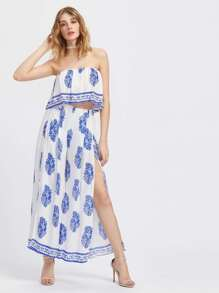 Frill Layered Ornate Print Bandeau Top With Split Pants