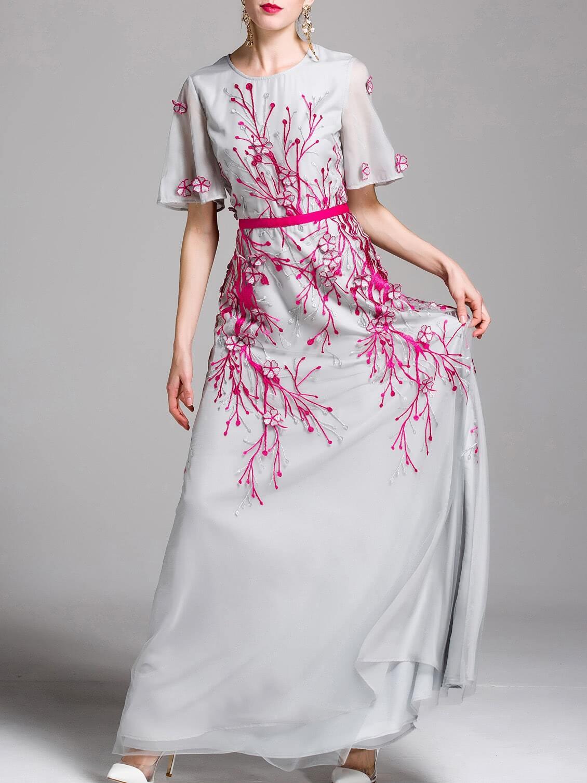 Фото Flowers Applique Embroidered Maxi Dress. Купить с доставкой