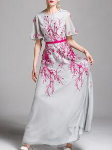 Flowers Applique Embroidered Maxi Dress