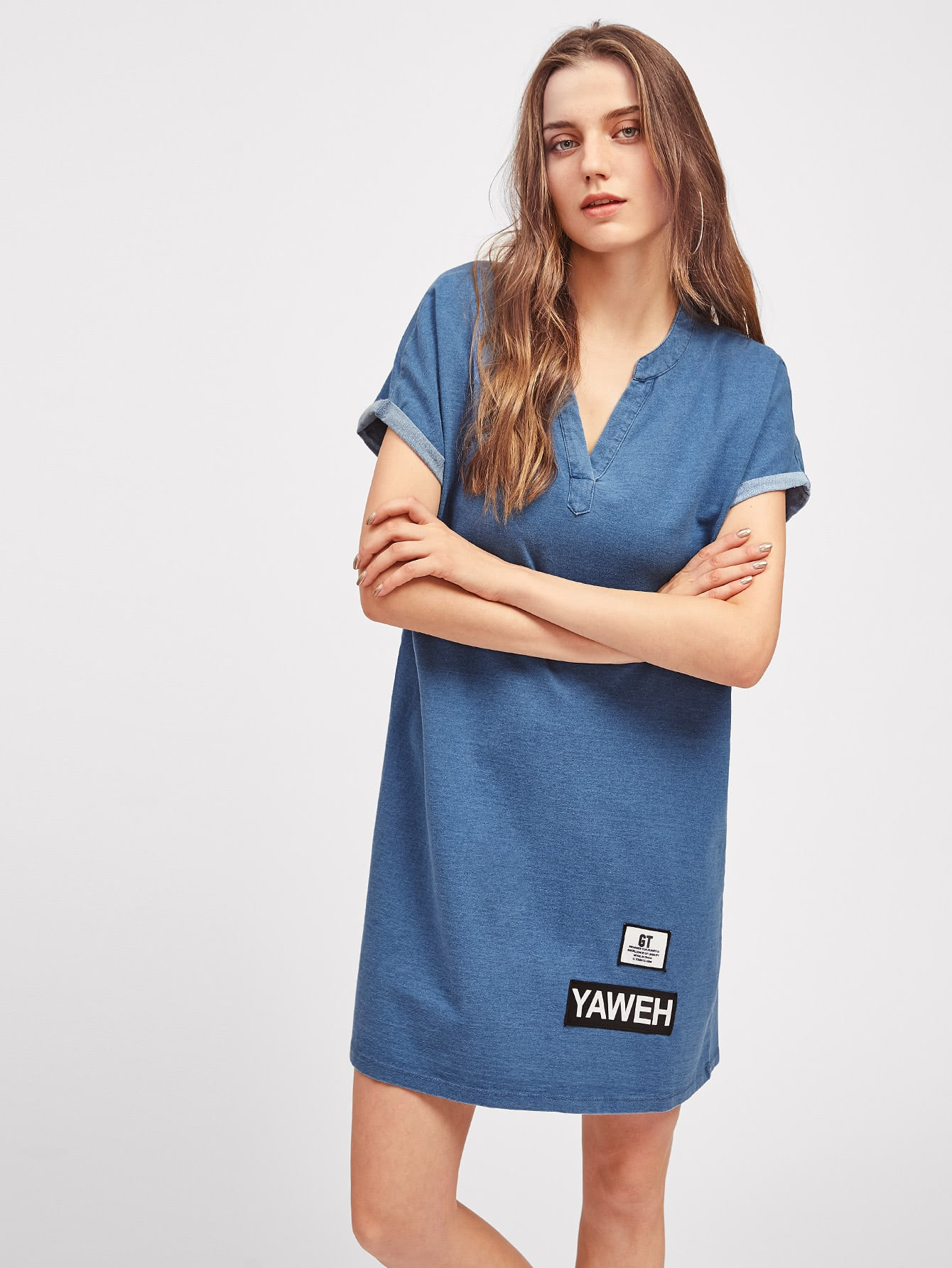 Фото Cuffed Sleeve Patch Detail Denim Look Tee Dress. Купить с доставкой