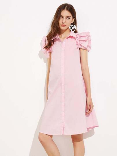 Ruffle Sleeve Swing Shirt Dress