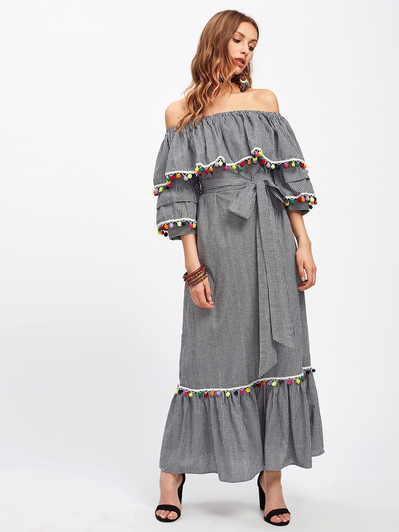 все цены на  Pom Pom Trim Self Tie Frill Bardot Dress  в интернете