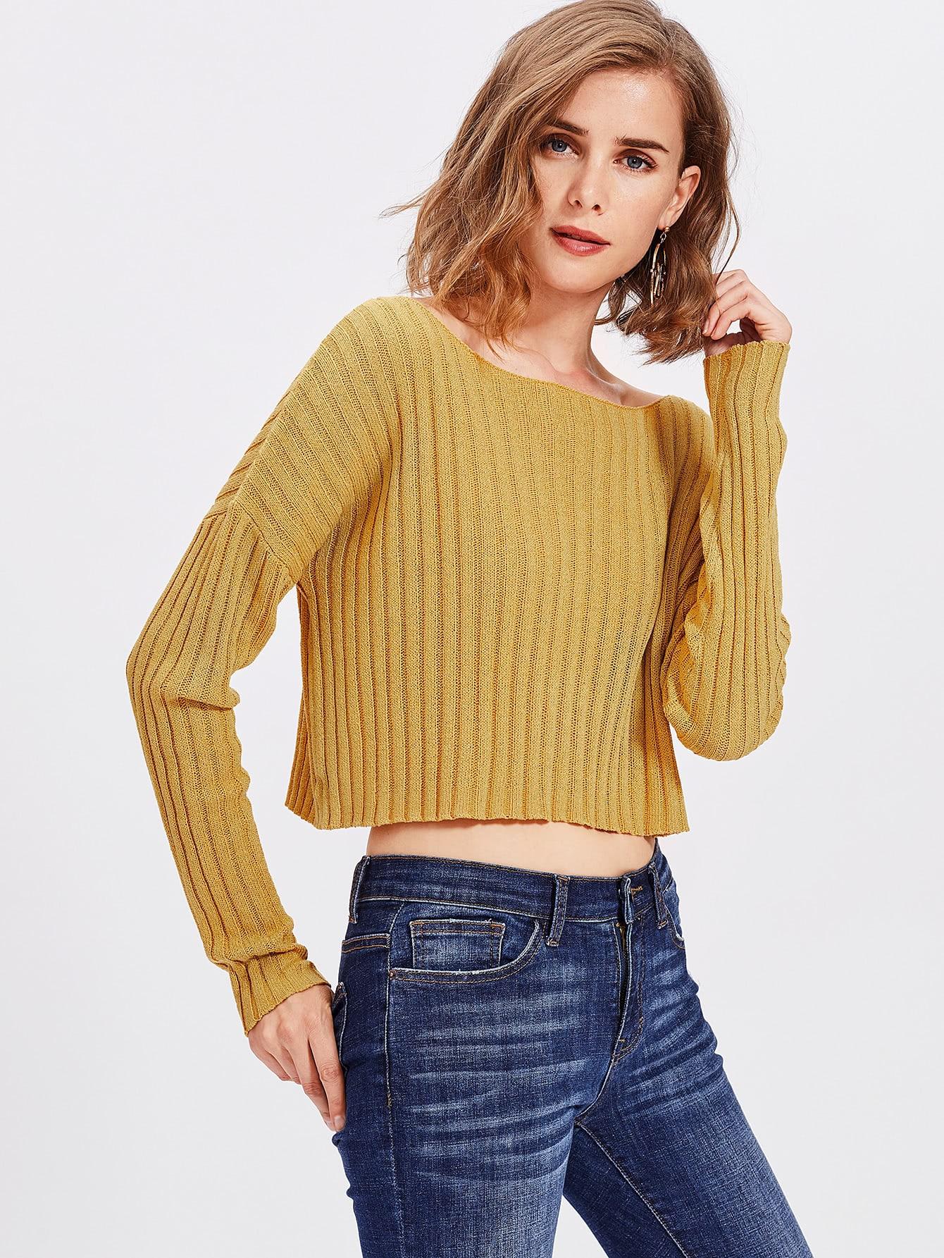 Drop Shoulder Rib Knit Crop Jumper drop shoulder water color crop sweatshirt