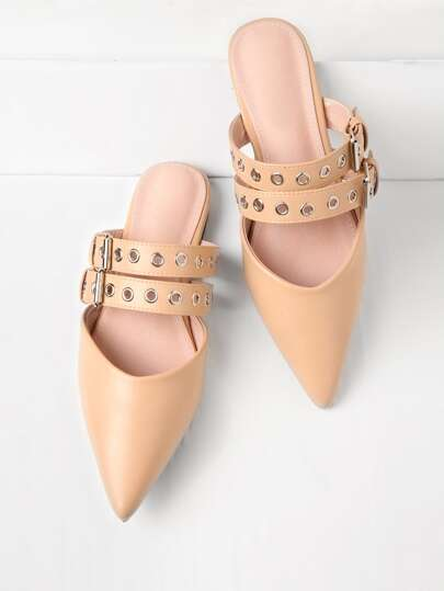 PU Pointed Toe Flats With Eyelet Strap