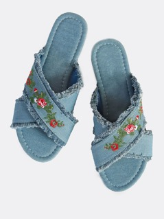 Frayed Embroidered Denim Slip On Sandals DENIM