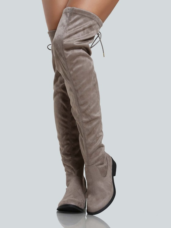 2761119dd38 Faux Suede Back Tie Up Thigh High Boot TAUPE