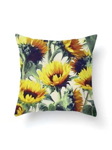 Sunflower Print Pillowcase Cover