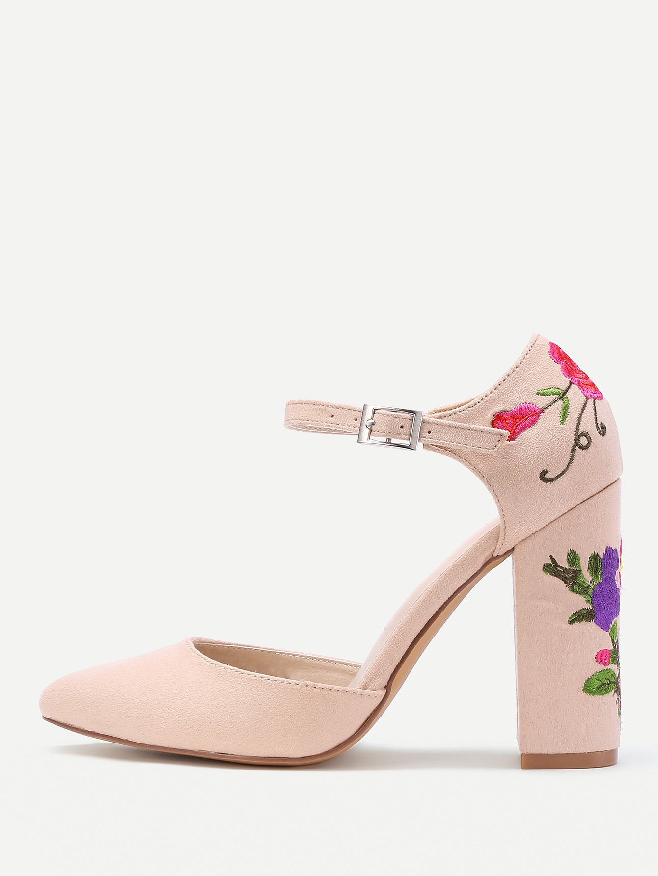 Flower Embroidery Ankle Strap Heels
