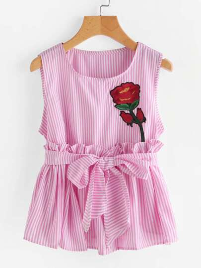 Vertical Striped Rose Embroidered Tank Top With Belt