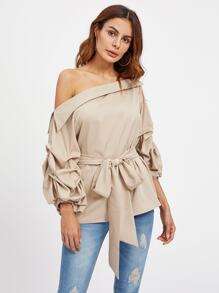 Foldover Asymmetric Shoulder Gathered Sleeve Top