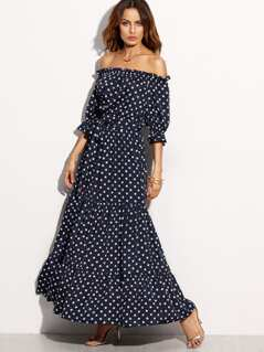 Bardot Neckline Tie Waist Polka Dot Dress