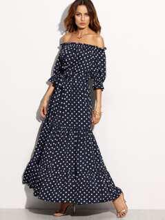 Bardot Neckline Tie Waist Polka Dot Dress