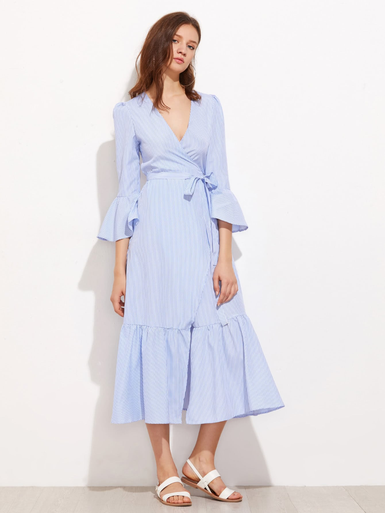 Vertical Striped Puff Sleeve Frill Dress степлер мебельный matrix 40907