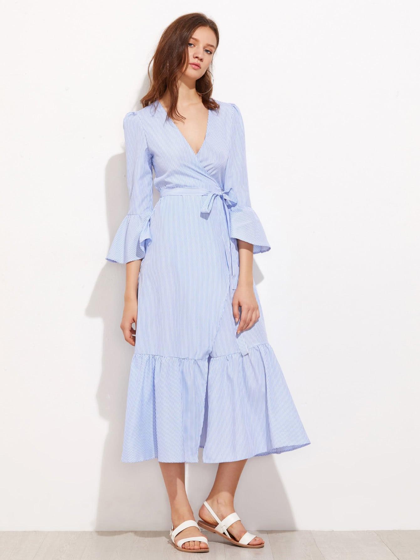 Vertical Striped Puff Sleeve Frill Dress dress170629129