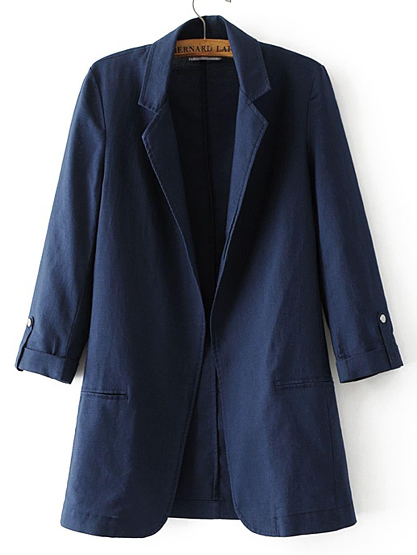 Фото Roll-Up Sleeve Open Front Blazer. Купить с доставкой