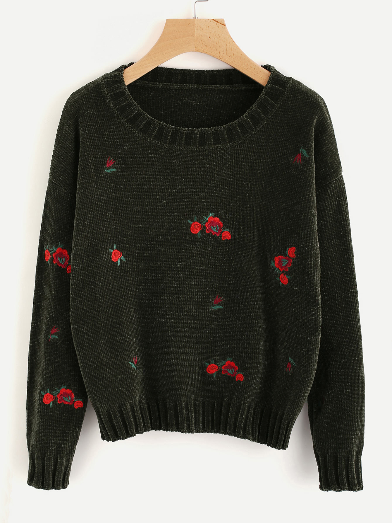 Ribbed Trim Flower Embroidered Jumper sweater170728454