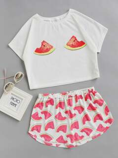 Watermelon Print Top With Shorts