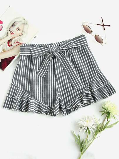 Self Tied Waist Layered Flounce Hem Shorts
