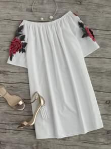 Off Shoulder Rose Embroidered Applique Dress