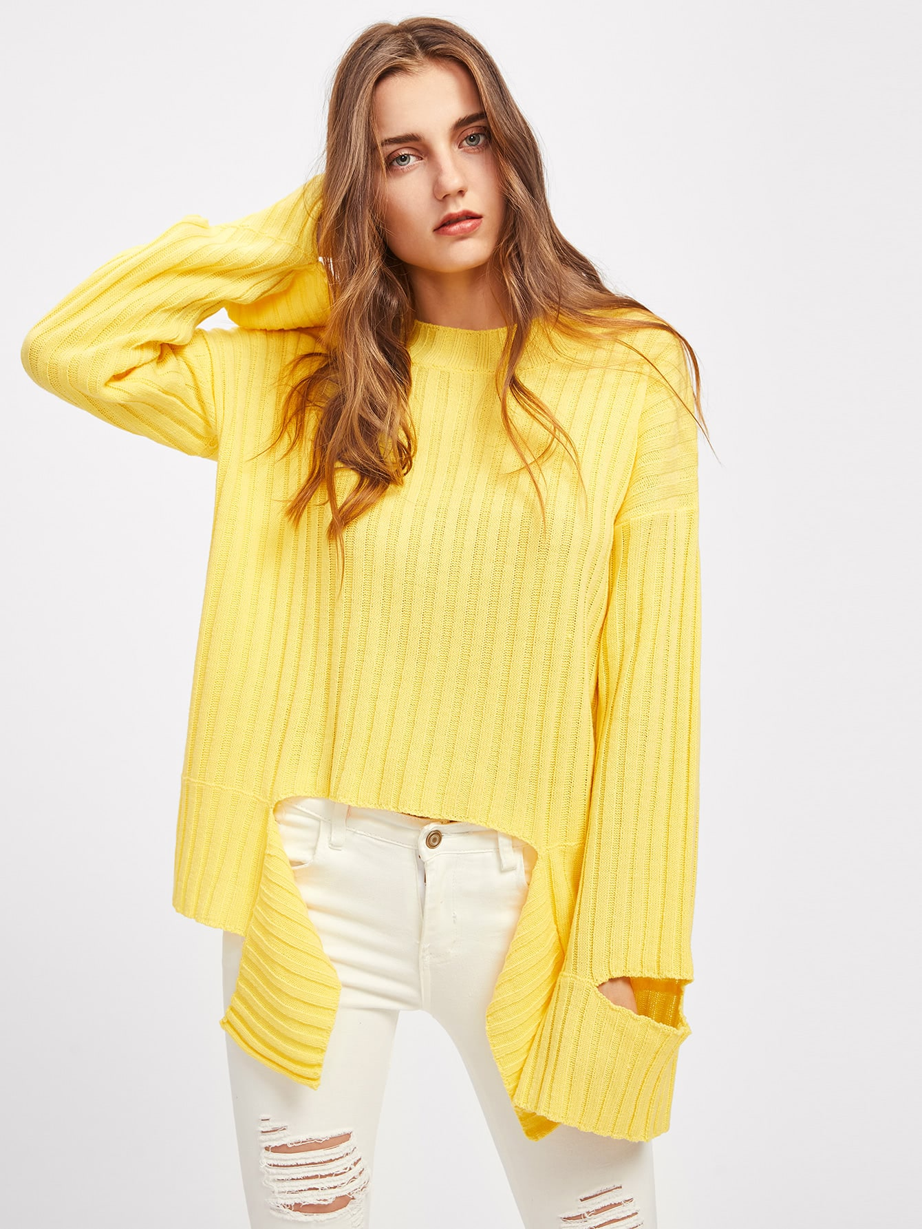 Cutout Sleeve Tie Front Ribbed Jumper sweater170718462