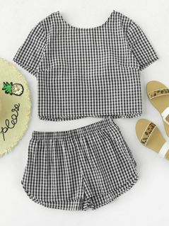 Bow Tie V Back Gingham Top And Shorts Co-Ord