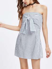 Bardot Vertical Striped Knot Front Dress