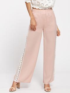 Lace Insert Wide Leg Pants