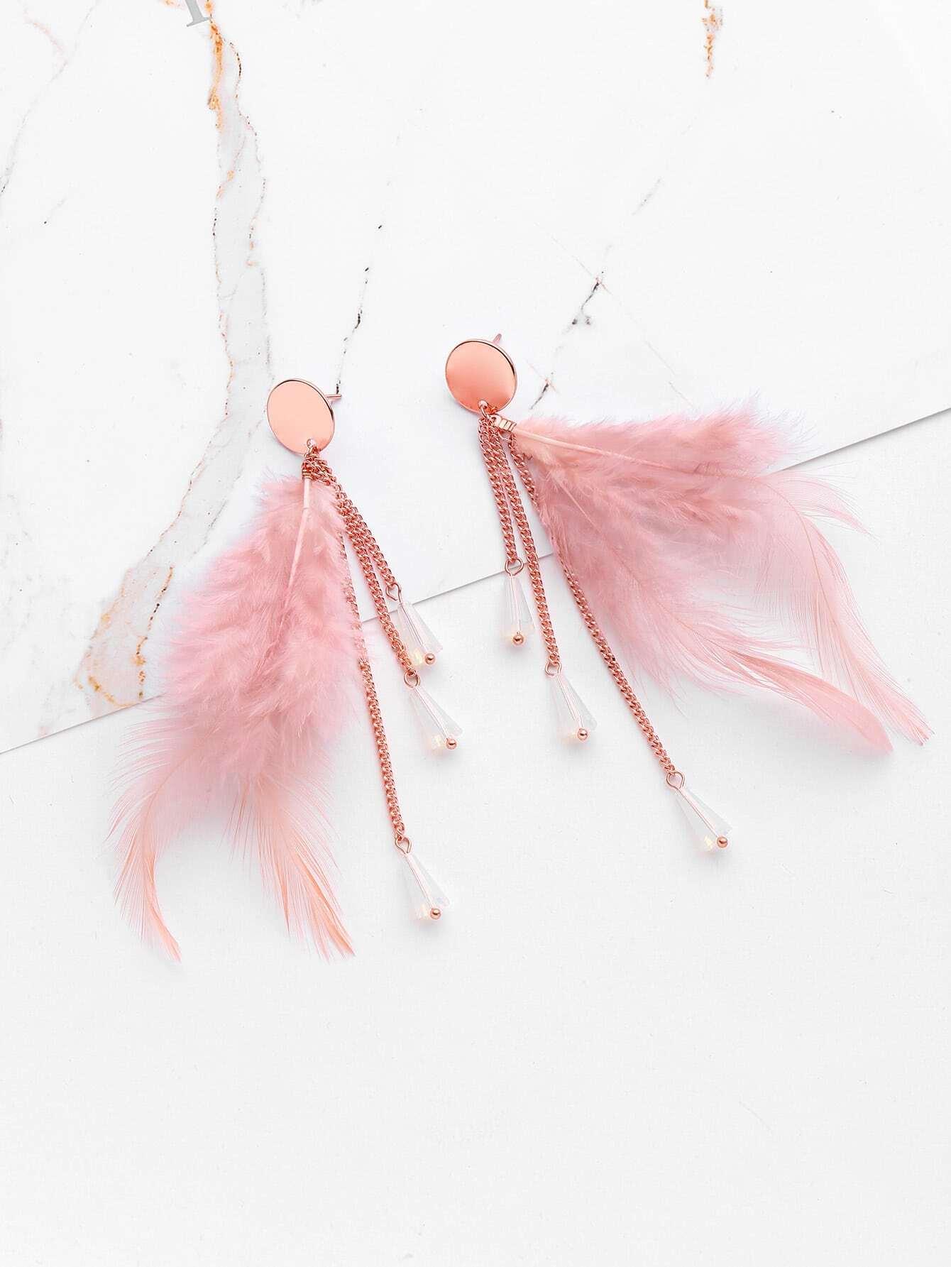 Фото Feather And Chain Design Drop Earrings. Купить с доставкой
