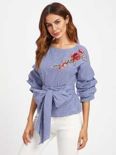 Gathered Sleeve Embroidered Applique Belted Gingham Top