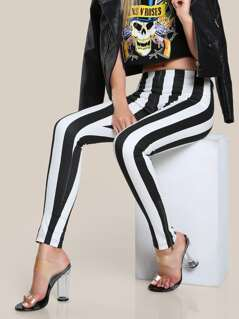 Striped Skinny High Rise Pants BLACK