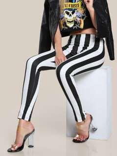 Striped Skinny High Rise Pants BLACK