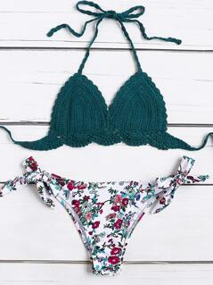 Calico Print Side Tie Crochet Bikini Set
