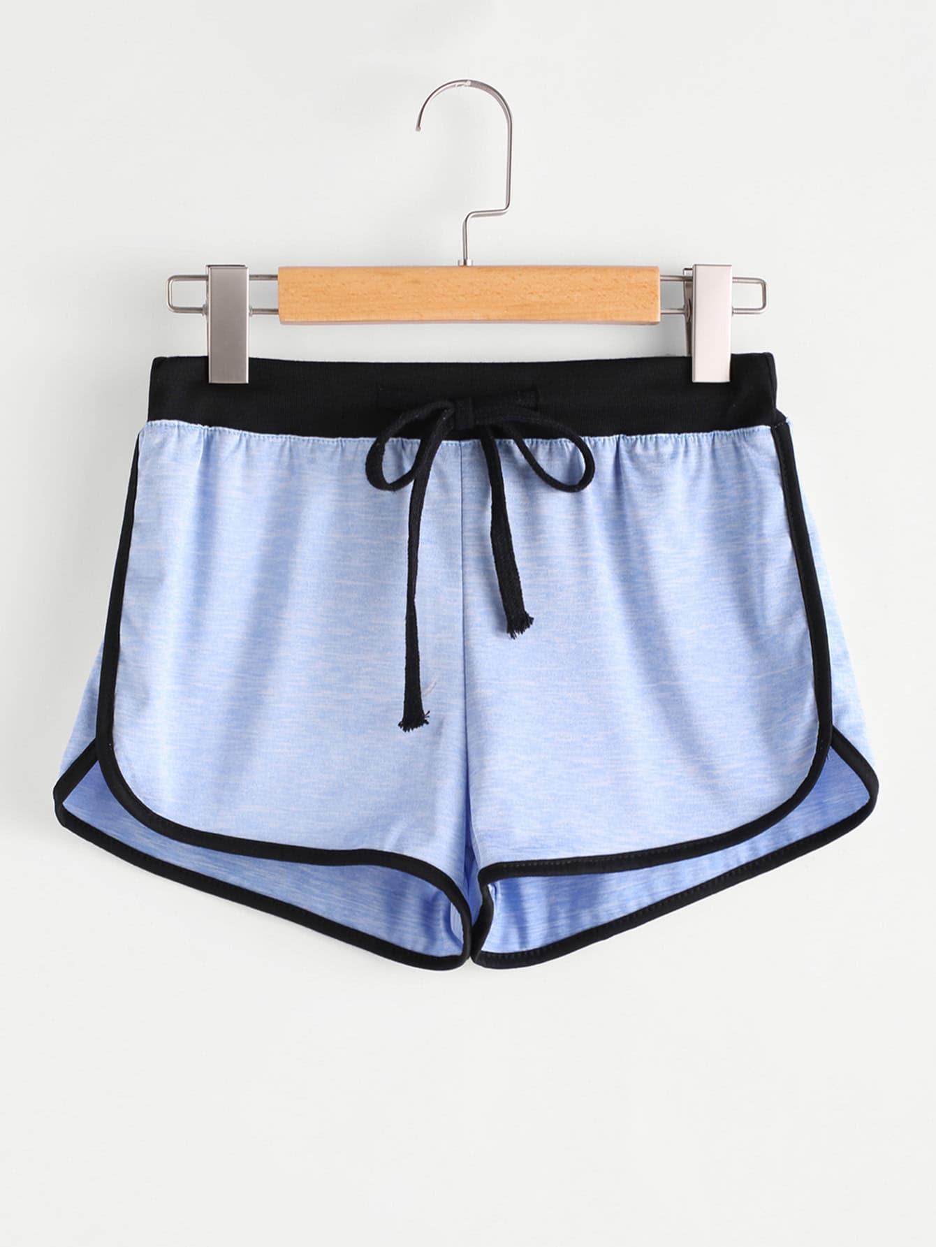 Drawstring Waist Ringer Shorts drawstring waist tie dyed shorts