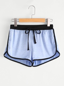 Drawstring Waist Ringer Shorts
