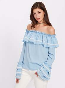 Lace Applique Layered Sleeve Flounce Bardot Blouse