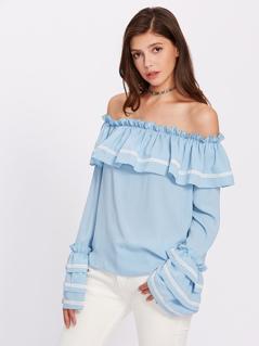 Lace Applique Layered Sleeve Flounce Bardot Blouse