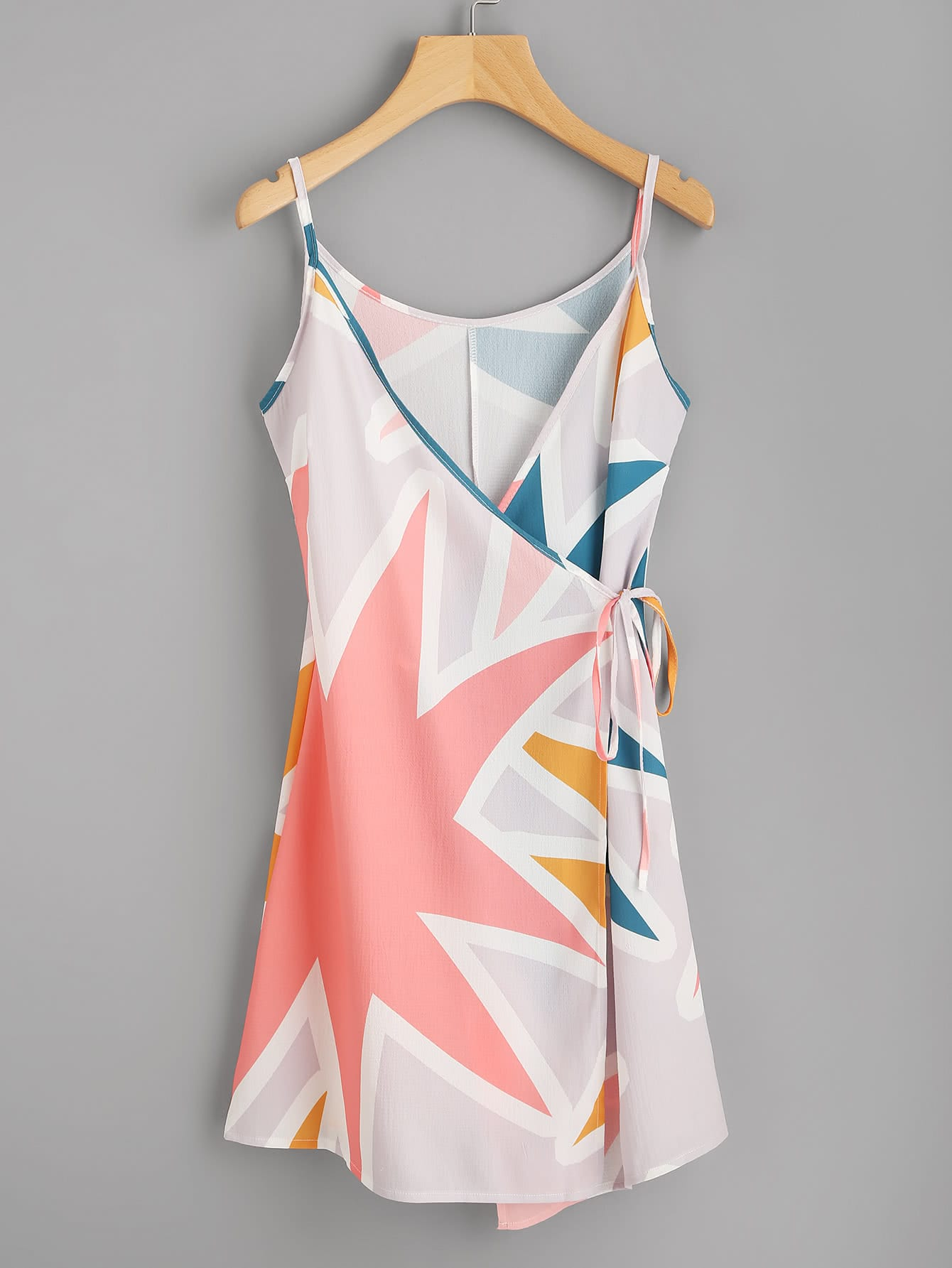 Abstract Geo Print Tie Detail Cami Dress abstract geo print overall dress