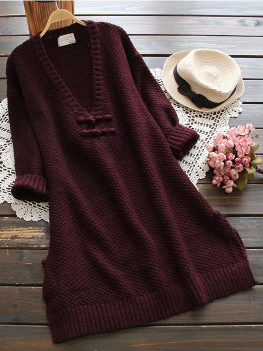 Plunging V-neckline Dolphin Hem Knit Sweater Dress cable knit a line sweater dress
