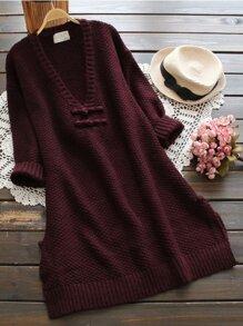 Plunging V-neckline Dolphin Hem Knit Sweater Dress