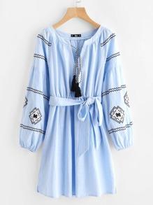 Tasseled Neck Bishop Sleeve Embroidered Dress