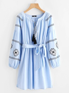 Tasseled Neck Bishop Sleeve Embroidered Dress