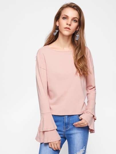 Drop Shoulder Layered Bell Sleeve Tee
