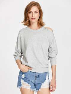 Marled Knit Asymmetric Cutout Shoulder Jumper