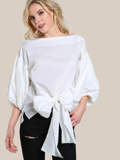 Puff Sleeve Wrap Shirt WHITE