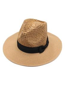 Bow Band Straw Fedora Hat