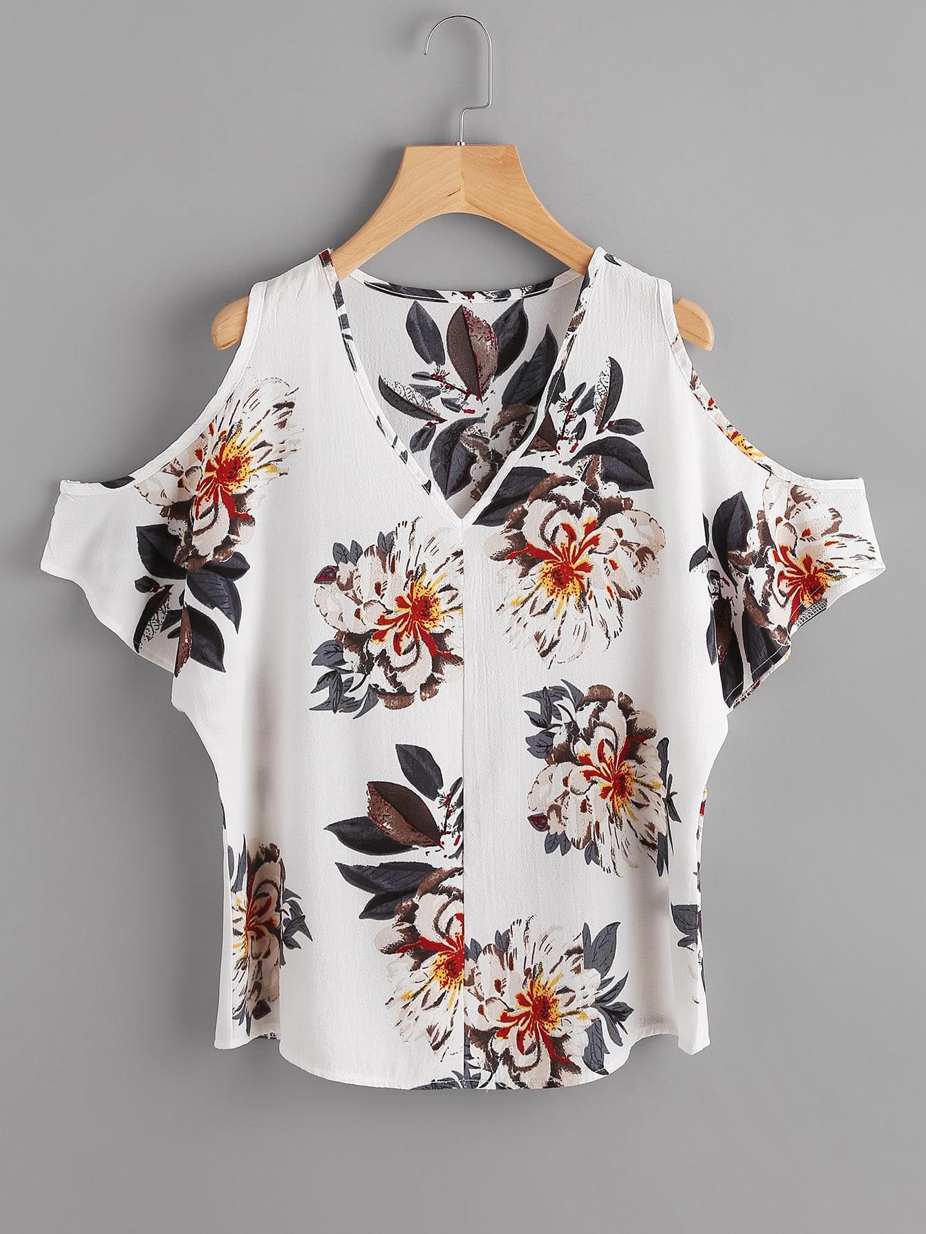 Фото V Neckline Open Shoulder Random Florals Top. Купить с доставкой