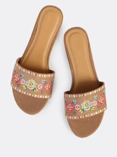 Embroidered Suede Slips On Sandals CAMEL