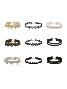Multi Shaped Charm Lace Choker Set 9pcs