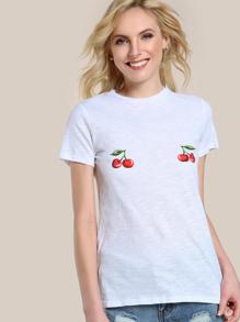 Cherry Print Slub Tee