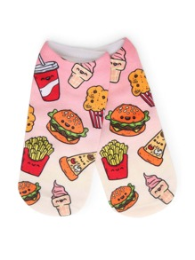 Hamburger Print Cartoon Socks